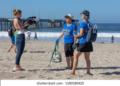 VENICE BEACH, CA - SEPTEMBER 15, 2018: Hundreds of volunteers showed up to Venice Beach for the annual Coastal Cleanup day.