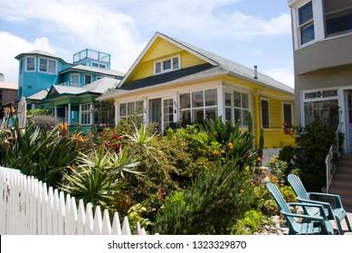 Venice Beach, California - May 6 2016: Colorful Californian style bungalows in Venice beach