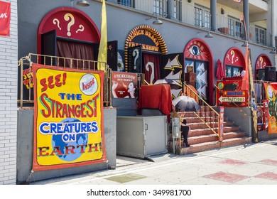 Venice Beach, California, USA - July 11, 2015: The Venice Beach Freak Show is one of the last of its kind