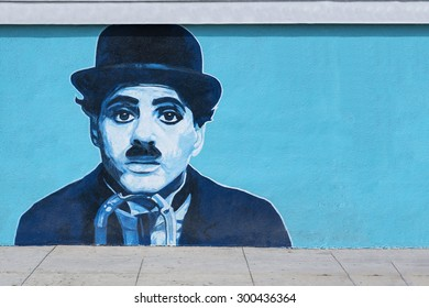 VENICE BEACH CALIFORNIA, USA MAY 29: Charlie Chaplin mural on the wall at Venice Beach in Los Angeles on May 29, 2015. Charlie Chaplin, was an English comic actor and filmmaker, silent film era.