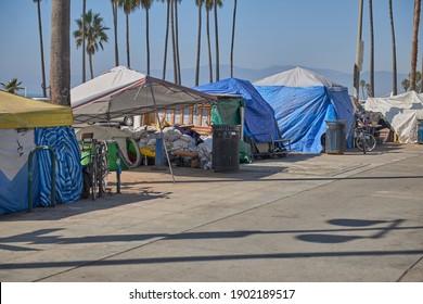 Venice Beach, California, USA - November 1, 2020: Homeless encampments on the Venice beach  Ocean Front Walk