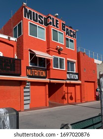 Venice Beach, CA/USA - April 1, 2020: Famous Muscle Beach on the Venice Boardwalk is closed and deserted during coronavirus quarantine