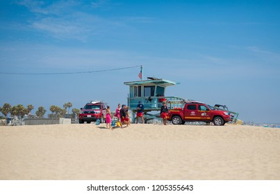Venice Beach Los Angeles, California/ USA 30 July 2018 Baywatch rescue team in action