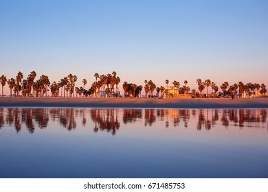 Venice Beach in Los Angeles California. Skyline Ocean Reflection.