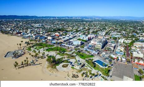 Venice beach Los Angeles California LA Summer Blue Aerial