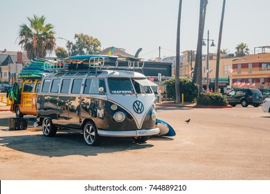 Venice beach, Los Angeles USA - March 15, 2015: A classic Volkswagen Van full with surf boards parked at the Venice beach in Los Angeles.