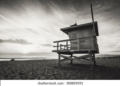 Venice beach, sunset. Lifeguard stand. Vacation, summer, travel, nature and life style concept. Vintage colors post processed.