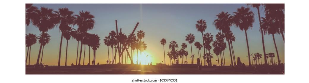 Venice Beach Sunset Panorama