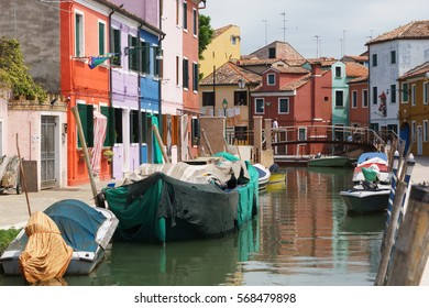 Venice Burano Chanel with Colorful Houses and Old Boats