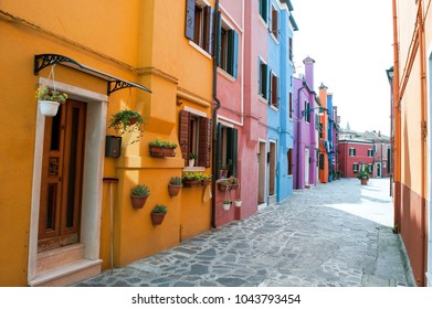 Venice, Burano island, Italy, Europe - typical street with colorful houses