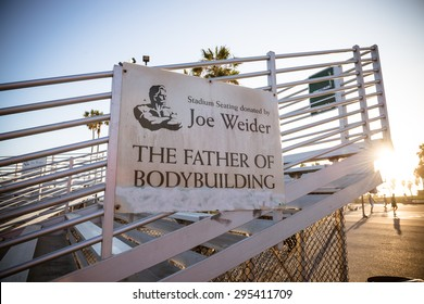 "VENICE, CA - MAY 28TH, 2015  ""Joe"" Weider, the father of bodybuilding, was an entrepreneur who co-founded the International Federation of BodyBuilders. He was also the creator of the Mr. Olympia."