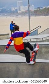 VENICE, CALIFORNIA - May 24, 2017: Unidentified person doing tricks at Venice Skate Park in Venice Beach California.