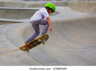VENICE, CALIFORNIA - May 24, 2017: Unidentified young boy skateboarding at at Venice Skate Park in Venice Beach California.