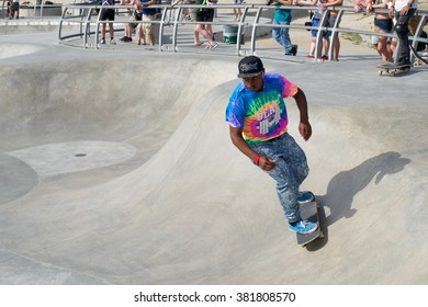Venice, California, United States - March 16, 2015: Skateboarder performing a glide at Venice Skatepark