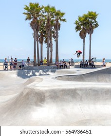 VENICE, CALIFORNIA, UNITED STATES - MAY 21, 2015: Venice Beach, Skaters in Skatepark , California. Venice Beach is one of most popular beaches of LA County.