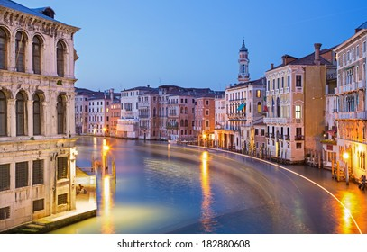Venice - Canal grande in evening dusk from Ponte Rialto