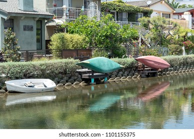 Venice Canal Historic District, CA - May 27, 2018: Boats in the Venice Canal Historic District. It is a district in the Venice section of Los Angeles, California.