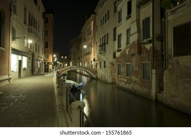 venice canals night view with light reflections