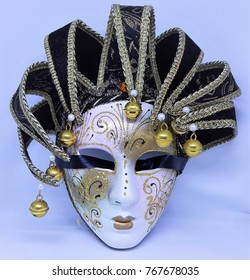 Venice carnival face mask on white background, festival time