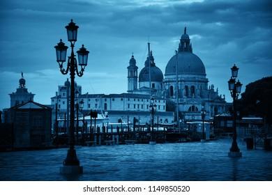 Venice Church Santa Maria della Salute and street in Italy.
