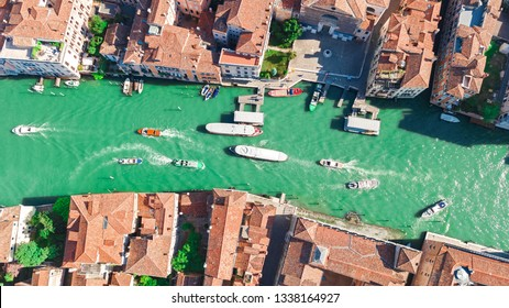 Venice city Grand Canal aerial drone view, Venice island cityscape and Venetian lagoon from above, Italy