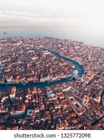 Venice cityscape aerial shot during sunrise