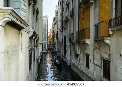 Venice cityscape, narrow water canal, bridge and traditional buildings. Italy, Europe.