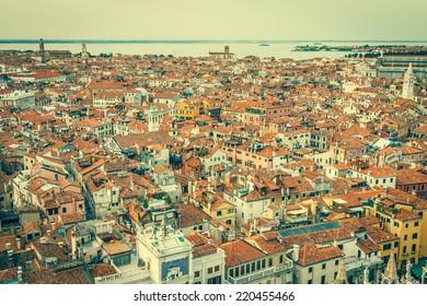 Venice cityscape - view from Campanile di San Marco. UNESCO World Heritage Site.