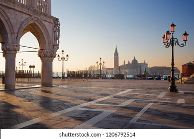Venice - Doge palace and Saint Mark square and San Giorgio Maggiore church in background in morning light.