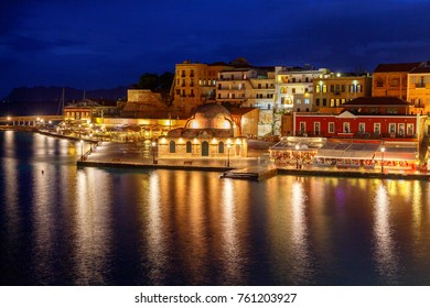 Venice embankment in the old harbor of Chania.