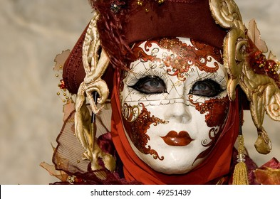 VENICE - FEB. 15: An unidentified person wears a mask at Carnival of Venice Feb. 15, 2007 in Venice. The annual carnival starts two weeks before Ash Wednesday and ends on Shrove Tuesday or Mardi Gras