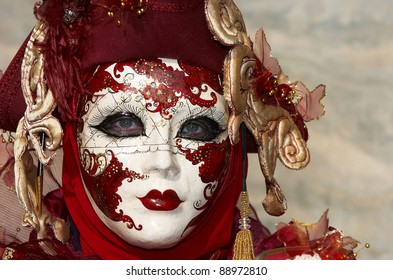 VENICE - FEBRUARY 15: An unidentified person in Venetian costume attends the Carnival of Venice, festival starting two weeks before Ash Wednesday and ends on Shrove Tuesday, on February 15, 2007 in Venice, Italy.