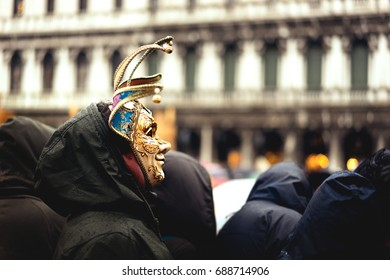 VENICE, FEBRUARY 2016: a man wearing a venetian mask during the Venice Carnival