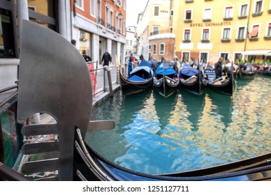Venice. Gondolas close up. Gondola parking. Venice. Italy