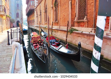 Venice and gondolas on the canal on a winter day