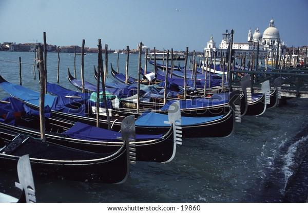 Venice Gondolas at Shores of Grand Canal