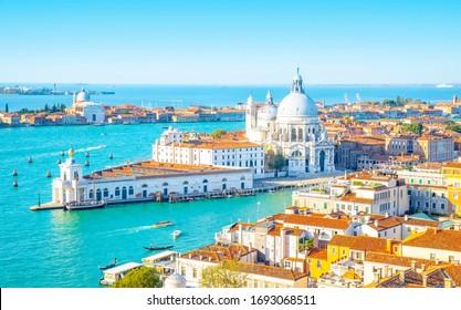 Venice Grand Canal aerial view and Basilica di Santa Maria della Salute, Italy