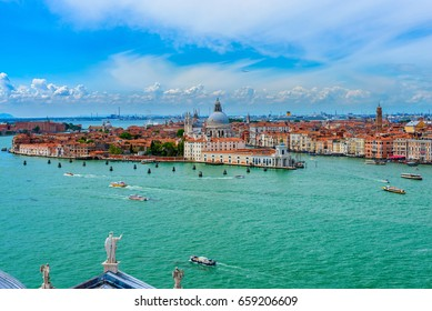 Venice Grand canal, Basilica Santa Maria della Salute in Venice, Italy. Architecture and landmarks of Venice. Venice postcard