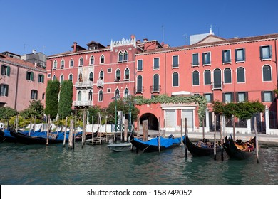 Venice Grand Canal, Italian Canal Grande and gondola small harbor. Old Venetian architecture, boats