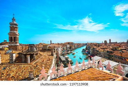 Venice grand canal and Rialto bridge aerial view. Italy, Europe.