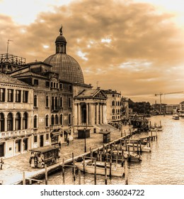 Venice Grand Canal with San Simeone dome in the background in sepia tone