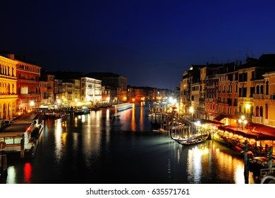 Venice grand canal scenic night view, Italy, Europe