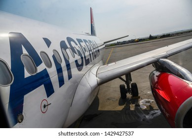 VENICE, ITALY - 01 JUNE 2017: Airplane of Serbian avia company AirSerbia standing on the airport gate ready to take off
