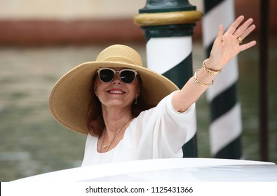 Venice, Italy. 02 September, 2017. Susan Sarandon arrive at the Hotel Excelsior
