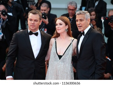Venice, Italy. 02 September, 2017. Julianne Moore, Matt Damon and George Clooney walks the red carpet ahead of the 'Suburbicon' screening during the 74th Venice Film Festival