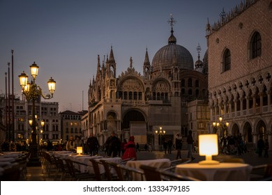 Venice (Italy) - 02/27/2019 - View of San Marco square at sunset
