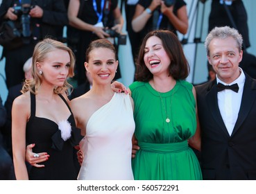 Venice, Italy. 03th September, 2016. Natalie Portman, Lily-Rose Depp, Rebecca Zlotowski and Emmanuel Salinger attends a premiere for 'Planetarium' during the 73nd Venice Film Festival.