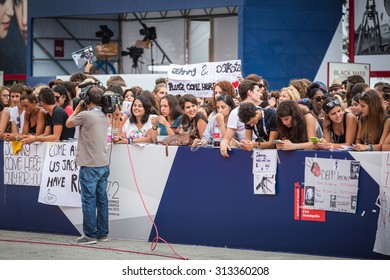 Venice, Italy - 04 September 2015: fans waiting for Jhonny Depp during the 72nd Venice Film Festival
