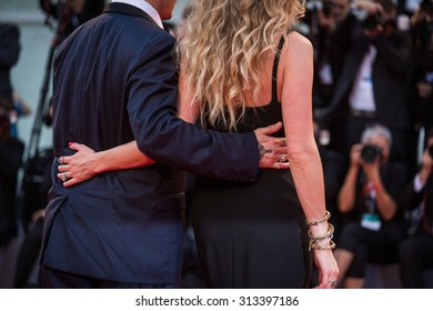 Venice, Italy - 04 September 2015: Johnny Depp and Amber Heard attend a premiere for 'Black Mass' during the 72nd Venice Film Festival