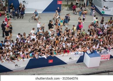 Venice, Italy - 04 September 2015: fans waiting for Jhonny Depp